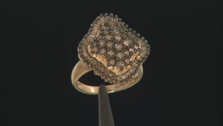 Champagne Diamond 10k Yellow Gold Ring 2.50ctw